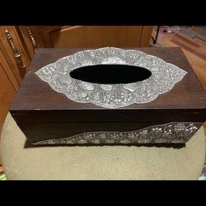 Wooden - Pewter Tissue Box